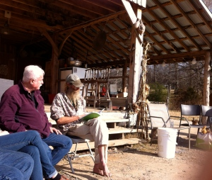 Hugh Lovel (left) and Jeff Poppen reading Rudolf Steiner's Agriculture Course at SUlfur Creek Farm